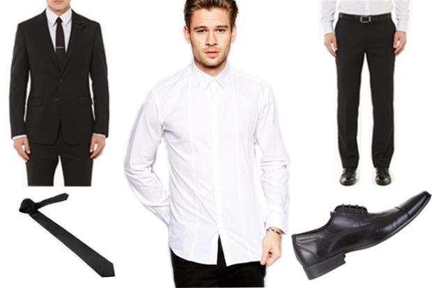 Conduit Jet Black Suit Jacket, $699 – Calibre; Selected Formal Slim Fit Shirt, $67.31 – ASOS; Conduit Jet Black Suit Pant, $299 – Calibre; Calvin Klein Polka Dot Tie, $67.31 – ASOS; Ballistic Dress Shoes, $119.95 – Julius Marlow.