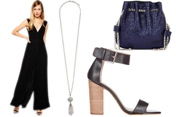 ASOS 70's Jumpsuit, $125 – ASOS; Jacqui Long Tassel Necklace, $22.99 – Forever New; Rochas Tilda Metallic Leather Pouch, $633 – Matches Fashion; Tony Bianco Makenzi Heels, $169.95 – The Iconic.