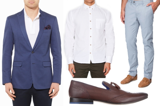 Galaxy Blue Blazer, $599 - Calibre; Vanishing Elephant Classic Poplin White Shirt, $110 – General Pants; Ted Baker Mordord Slim Chino Trousers, $179 – The Iconic; Ted Baker Embed 2 Loafers, $279.95 – The Iconic.